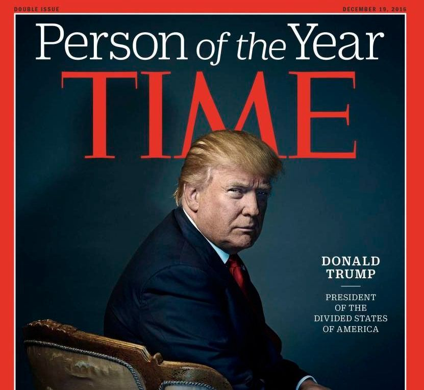 "TIME magazine cover of Donald Trump. ""President of the Divided States of America""."