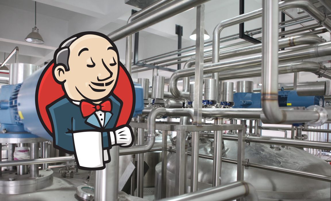 The jenkins.io logo, left, superimposed onto a photo of stainless steel pipework in a brewery.